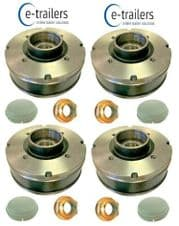 4 x BRAKE DRUM SET FOR IFOR WILLIAMS 200x50 4 STUD 140mm PCD BEARINGS +CAPS+NUTS